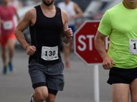 Katie O'Regan, 30, of Lititz, PA was the first female finisher with at time of 1:22:39 at the Vestal XX 20-kilometer road race on Saturday.