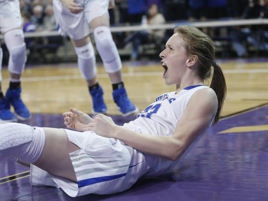 Mesquite's Lindsey VanAllen (23) reacts after scoring