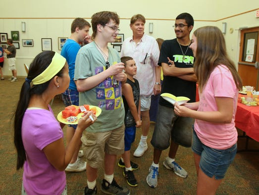 Kids celebrate the end of summer camp at Rockland JCC in West Nyack Aug. 12, 2014. They participated in Rockland Jewish Family Service's summer camp for children on the asperger/austism spectrum.