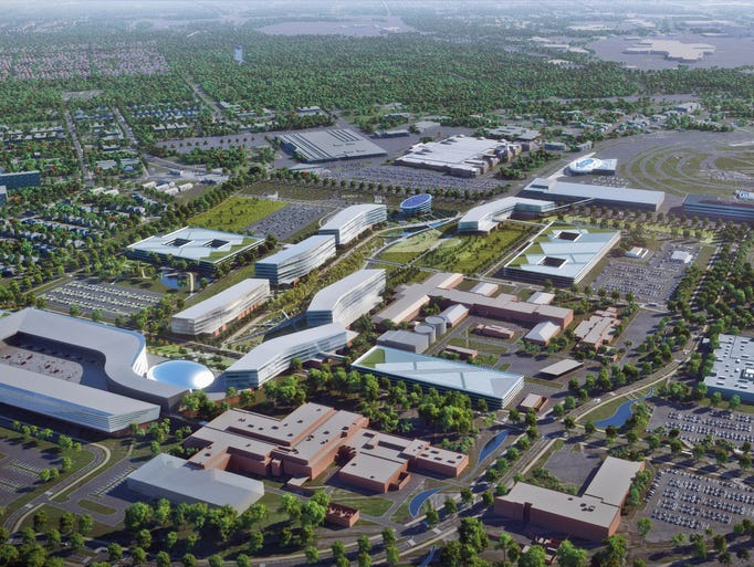 An aerial shot of what Ford's new product campus could