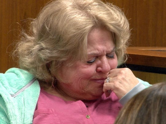 Mary Ann Conover breaks down as she remembers her friend Anthony Verdicchio in State Superior Court in Toms River Tuesday, January 26, 2016.   Alan Bienkowski is charged with the Verdicchio's murder.