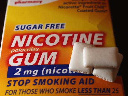 A package of nicotine gum. Nicotine replacement therapy