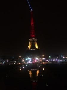 The Eiffel Tower lit up in remembrance of the victims of the Brussels attacks.