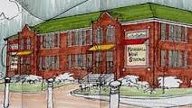 An artist's rendering of Marshall High Studios captures the character of the 1925 building.