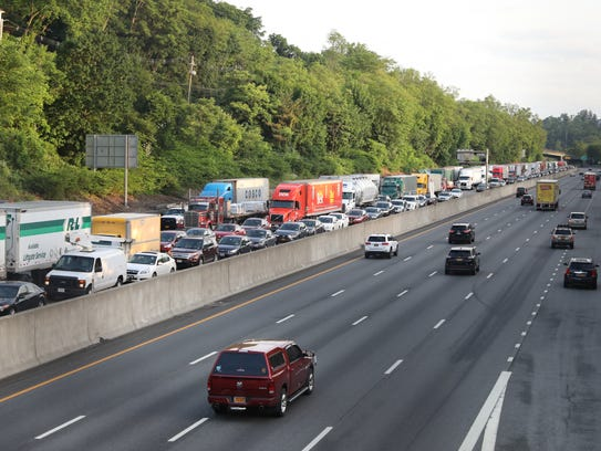 Traffic is at a standstill on the southbound New York