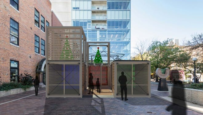 The three holiday market structures, inspired by Iowa corn cribs, will be built on the Black Hawk Mini Park and will remain there from Nov. 25 to Dec. 23.