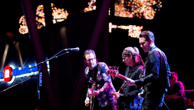 The Waukesha-born Americana band BoDeans, featuring co-founder Kurt Neumann (center), performs at the BMO Harris Pavilion during the city's annual Independence Day fireworks display on July 3, 2016.