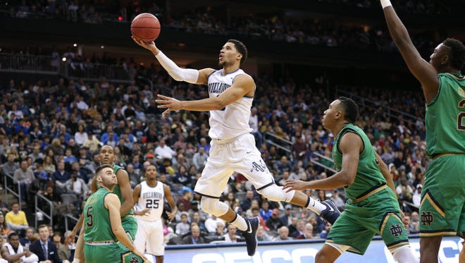 Villanova Wildcats guard Josh Hart (3) lays the ball up against the Notre Dame Fighting Irish during the second half of the fist game at Prudential Center. Villanova won, 74-66.