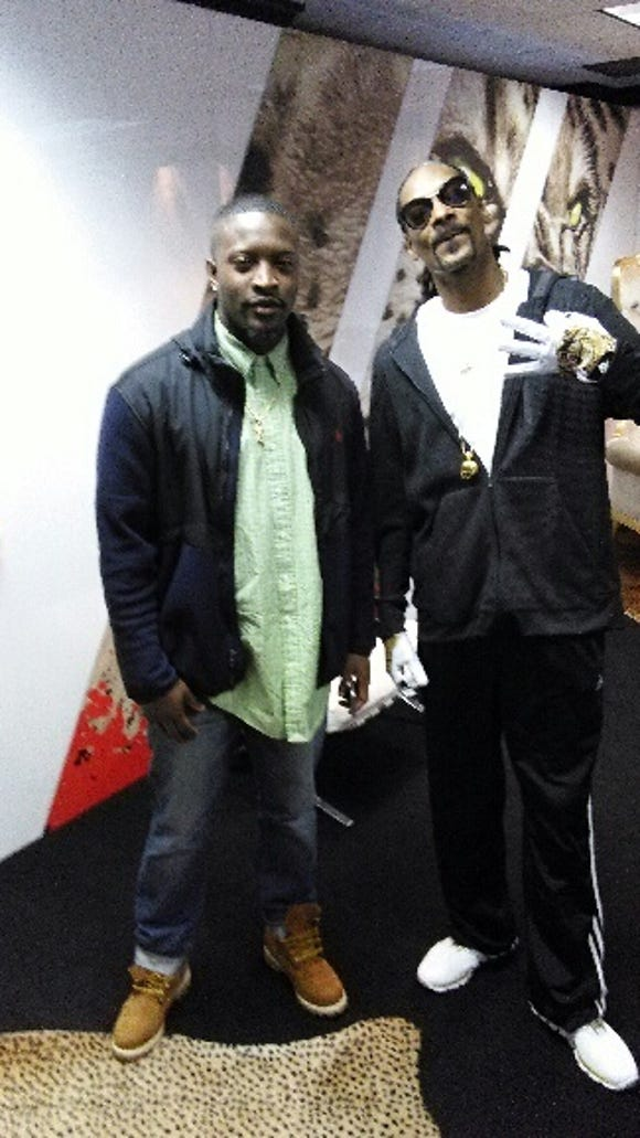 Jackson State's Tobias Singleton poses with Snoop Dog at the 2015 NFL Combine.
