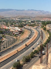 Traffic flowing through St. George. Per the governor's latest coronavirus-related order, travelers will be prompted to fill out travel declarations when entering the state.