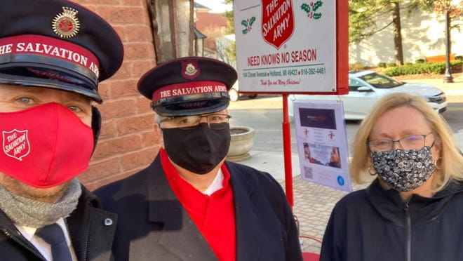 Bell ringers collect donations in downtown Holland. The Salvation Army is seeking additional volunteers, both in-person and virtually, to assist in collecting more donations to help fund the nonprofit throughout 2021.