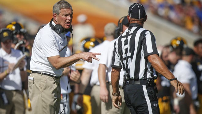 Iowa head coach Kirk Ferentz?s frustrations should be directed at all parts of the Hawkeyes? offense, writes Chad Leistikow. Iowa set Outback Bowl futility records in both passing yards (55) and total offense (226 yards). Iowa head football coach Kirk Ferentz shares his frustrations with a game official regarding a call on Monday, Jan. 2, 2017, against Florida at Raymond James Stadium in Tampa, Florida.