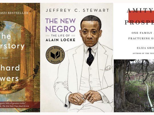 """Frederick Douglass: Prophet of Freedom,"" left, by David W. Blight, won the Pulitzer Prize for History, ""The Overstory,"" a novel by Richard Powers, won the Pulitzer Prize for Fiction, ""The New Negro: The Life of Alain Locke,"" by Jeffrey C. Stewart, won the Pulitzer Prize for Biography, ""Amity and Prosperity: One Family and the Fracturing of America"" by Eliza Griswold, won the Pulitzer Prize for Non-Fiction, and ""Be With,"" by Forrest Gander, won the Pulitzer Prize for Poetry."