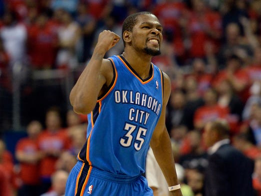 Game 6 in Los Angeles -- Thunder 104, CLippers 98: Kevin Durant celebrates a late bucket in the Oklahoma City's series-clinching victory.