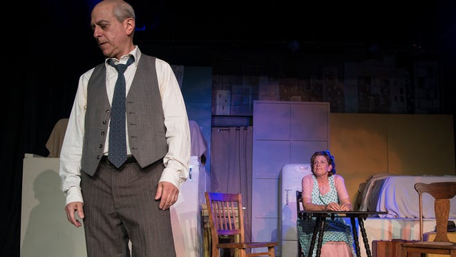 "Steven Samuels as Willy Loman and Jane Hallstrom as Linda Loman in Magnetic Theatre's production of Arthur Miller's ""Death of a Salesman."""