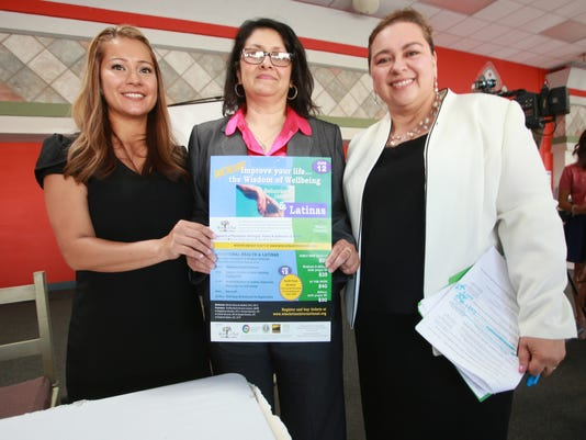 VICTOR CALZADA-EL PASO TIMES (from left_ Abigail Meyer, Norma Mendoza and Gina Nunez-Mehiri are working to idnetify barriers to success and explore successful coping strategies including resources accessed to deal with the challenges women in El Paso face today. They announced findings at a meeting at the Cafe Mayapan Thursday.