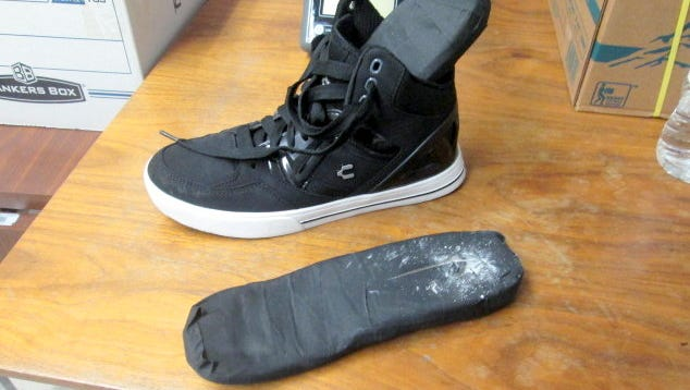 Customs agents found 1.32 pounds of cocaine Monday. The drugs were hidden in the shoes of a female border crosser in El Paso.