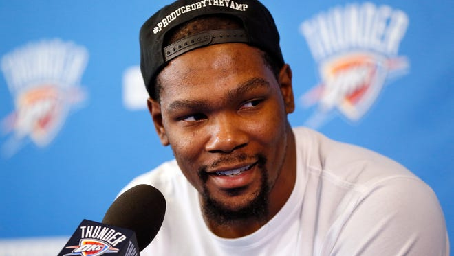 Oklahoma City's Kevin Durant (35) will take meetings with multiple teams going into free agency.