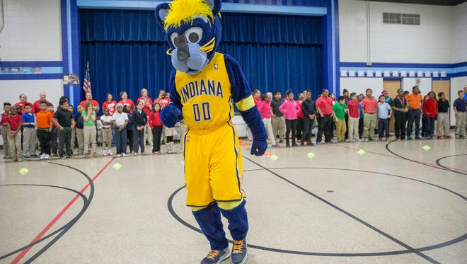 Boomer, the Pacers mascot, at an event at Charles Warren Fairbanks School 105, Indianapolis, Tuesday, March 8, 2016. The event is sponsored by UNICEF's Kid Power program as a way to get kids more exercise and send much needed food to malnorished kids around the world.