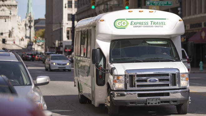 The Go Green airport shuttle, which runs twelve dollars for a ride to the airport, Indianapolis, Friday, Oct. 14, 2016.