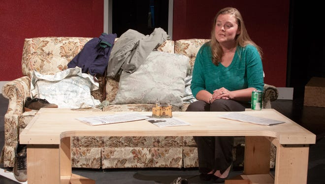 """Kelley Kearn rehearses a scene in """"Becky's New Car"""" at DreamWrights Center for Community Arts."""