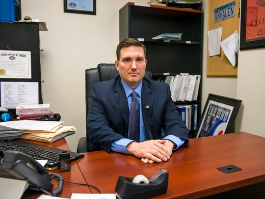 Deputy Prosecutor Lewis Reagan sits in his office at the York County District Attorney's Office. He prosecuted McKenzie Reese, who was  charged with delivery of heroin and/or fentanyl and drug delivery resulting in death in the fatal overdose of Arissa Clymer, which happened on Aug. 16, 2015.