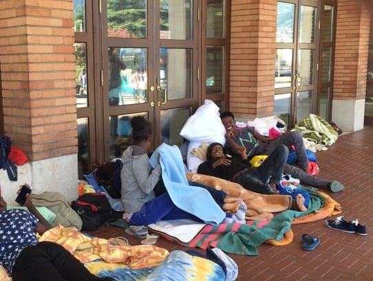 African migrants have set up camp at Como's railway