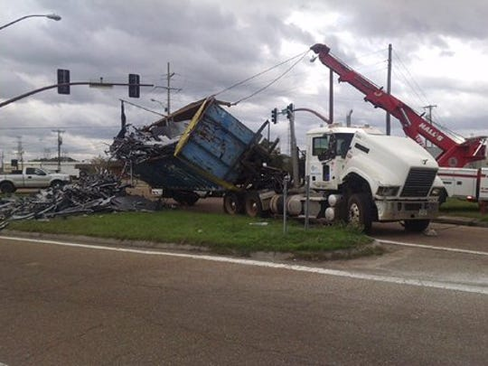 This 18-wheeler wreck at I-20 and Gallatin Street in Jackson Tuesday was reportedly cause by a gust of wind.