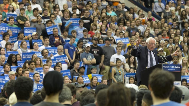 Democratic presidential candidate Bernie Sanders speaks during a campaign rally at Penn State University April 19.