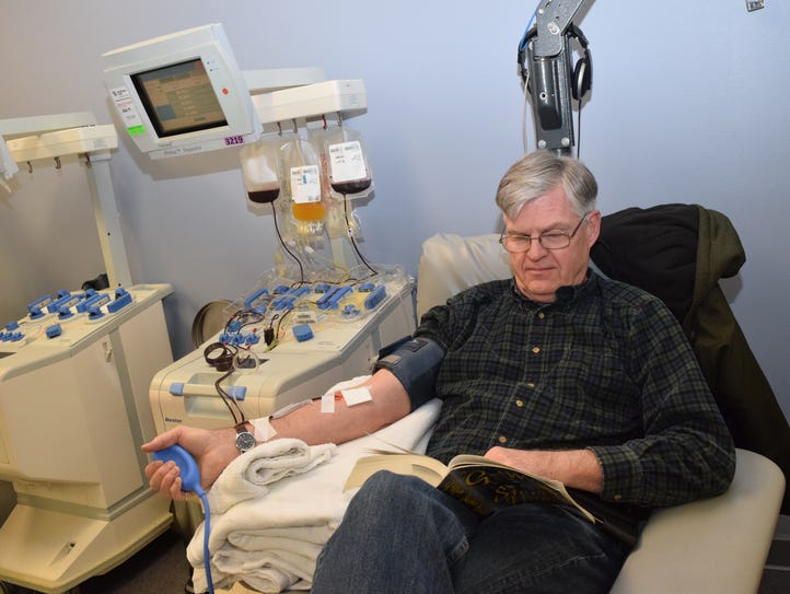 Steve Rogge donates platelets Wednesday at the LifeShare