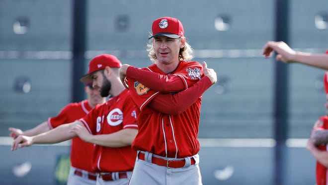 Cincinnati Reds pitcher Bronson Arroyo (61) stretches during Cincinnati Reds spring training, Tuesday, Feb. 14, 2017, at the Reds spring training facility in Goodyear, Arizona.