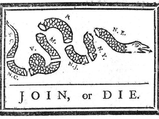 """In 1754, a cartoon in Benjamin Franklin's Pennsylvania Gazette showed a snake cut into sections, each part representing an American colony; the caption read, """"Join or die."""""""