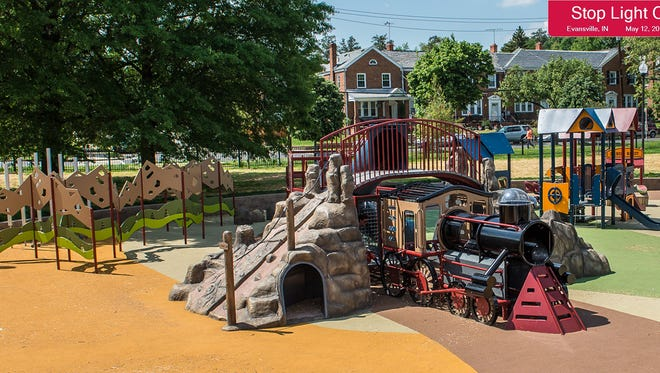 This train play set is an example of proposed play equipment for Stoplight City playground.