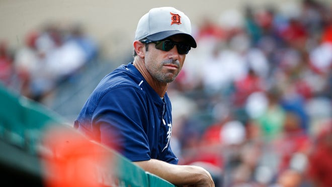 Detroit Tigers manager Brad Ausmus looks on during an exhibition against the St. Louis Cardinals on March 16, 2015, in Jupiter, Fla.