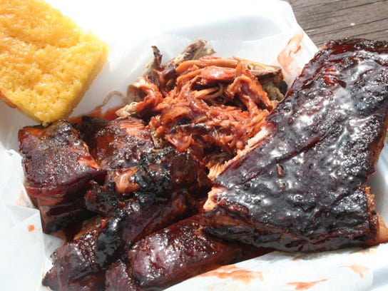Ribs, rib tips, pulled pork and corn bread are among