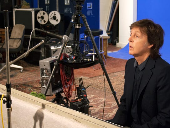 Paul McCartney tapes a VR interview at his home studio