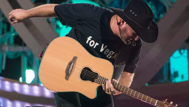 Garth Brooks performs at Banker's Life Fieldhouse in Indianapolis, Ind., Thursday, Oct. 5, 2017. Thursday was opening night of his four-day, five-concert stop in Indianapolis on the Garth Brooks World Tour with Trisha Yearwood.