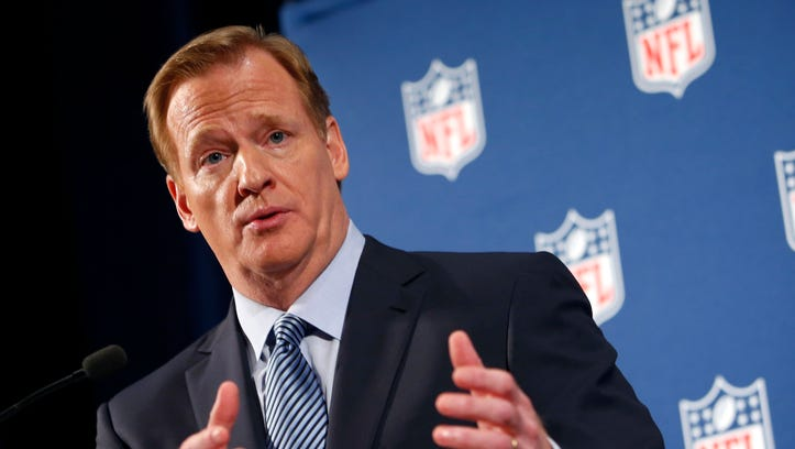 NFL Commissioner Roger Goodell speaks during a news conference Sept. 19, 2014, in New York. Goodell says the NFL wants to implement new personal conduct policies by the Super Bowl. The league has faced increasing criticism that it has not acted quickly or emphatically enough concerning the domestic abuse cases.