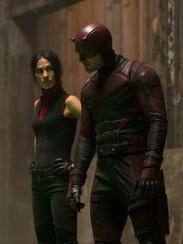 Former lovers Elektra (Elodie Yung) and Daredevil (Charlie