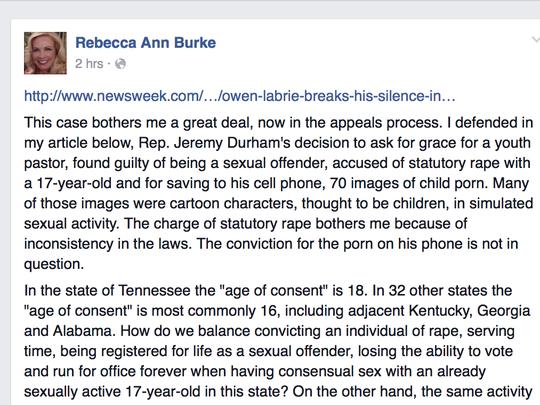 A screen shot of Rebecca Ann Burke's initial post questioning