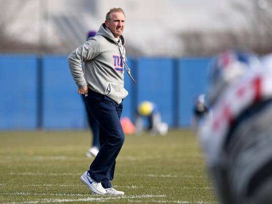New York Giants interim head coach Steve Spagnuolo on the field during practice in East Rutherford, NJ on Wednesday, December 6, 2017.
