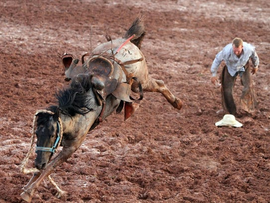 Chance Duve received a no score in ranch bronc riding