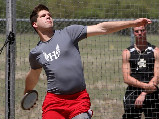 Holliday's Matt Griffin competes in the 3A discus throw at the Jacksboro Area Meet Monday, April 16, 2018, in Jacksboro.