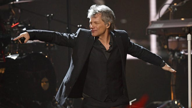 Inductee Jon Bon Jovi performs during the Rock and Roll Hall of Fame Induction ceremony, Saturday, April 14, 2018.