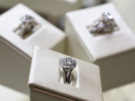 Halo cut diamond rings Wednesday, Oct. 12, at Bachman Jewelers in St. Cloud.