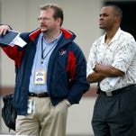 Jets general manager Mike Maccagnan (left) fired the team's two top scouts on Friday.