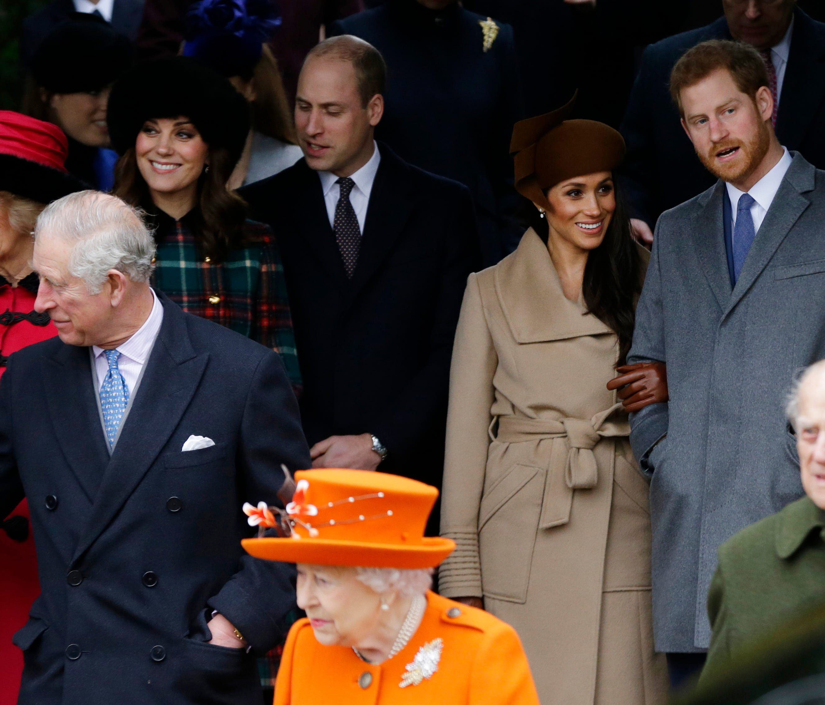 In this Monday, Dec. 25, 2017 file photo, front from left, Prince Charles, Queen Elizabeth II and Prince Philip. Rear From left, Camilla, Duchess of Cornwall, Kate, Duchess of Cambridge, Price William, Meghan Markle, and her fiancee Prince Harry, fol