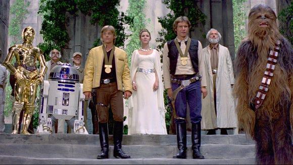 C-3PO, R2-D2, Luke Skywalker, Princess Leia, Han Solo