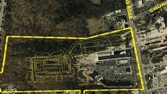 An aerial view of the Woods at Toms River site on Route
