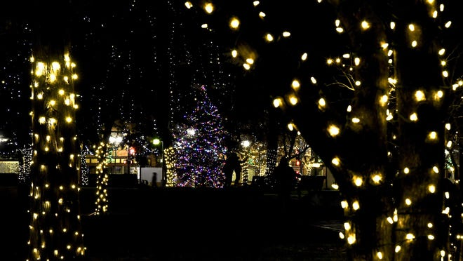 Area residents make their way through Stevens Park Saturday to view the park's holiday lights and take family photographs in downtown Garden City.